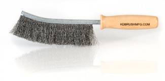 Large steel wire handbrush with hardwood handle