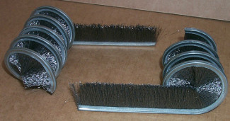 Strip brush formed into an inside coil brush
